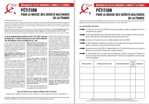 Pétition pour la baisse des crédits militaires de la France - Désarmer au lieu de surarmer le monde et la France !